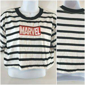 Marvel Short Sleeve Striped Crew Neck Crop Top